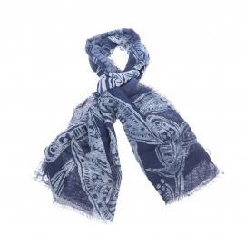 Chèche Tommy Hilfiger en coton et lin bleu indigo à motifs