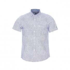 Chemise cintrée manches courtes Tommy Hilfiger en coton blanc à motifs bleu marine