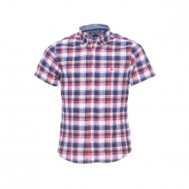 Chemise manches courtes Tommy Hilfiger en coton à carreaux bleus, corail, blancs et marron