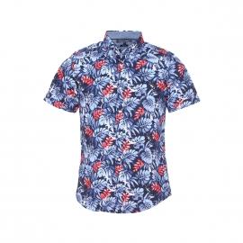 Chemise manches courtes Tommy Hilfiger en coton bleu à motifs feuilles