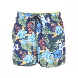 Short de bain Tommy Hilfiger bleu marine à motifs exotiques multicolores