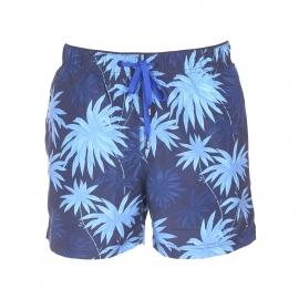 Short de bain Tommy Hilfiger bleu marine à motifs fleurs bleu clair