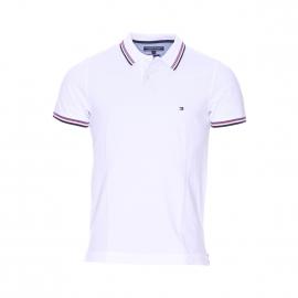 Polo Tommy Hilfiger en coton biologique blanc, col à rayures