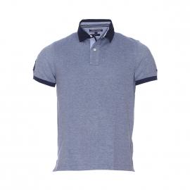 Polo Tommy Hilfiger en maille oxford bleu marine et bleu clair