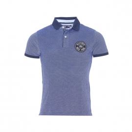 Polo slim fit Venice Tommy Hilfiger en coton piqué bleu et blanc