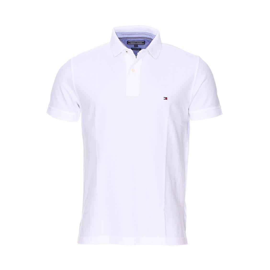 Polo coupe droite Tommy Hilfiger en coton piqué premium blanc | Rue Des Hommes