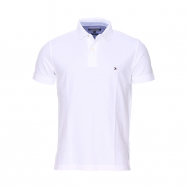 Polo coupe droite Tommy Hilfiger en coton piqué premium blanc