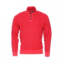 Pull col boutonné Tylor Tommy Hilfiger en coton premium tricoté rouge piment et rouge foncé