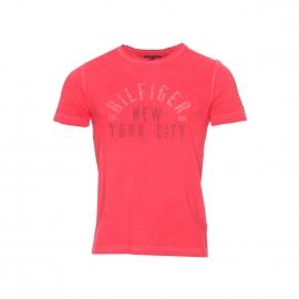 Tee-shirt col rond Tommy Hilfiger rouge vintage floqué