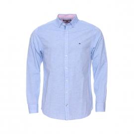 Chemise droite Tommy Hilfiger en coton et lin bleu pâle, tissage fil à fil