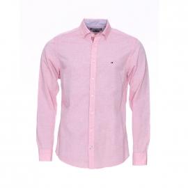Chemise droite Tommy Hilfiger en coton et lin rouge pâle, tissage fil à fil