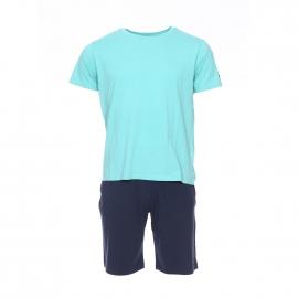 Pyjama court Tommy Hilfiger : Tee-shirt vert d'eau et bermuda bleu marine