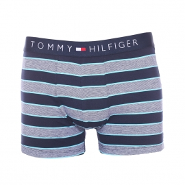 Boxer Tommy Hilfiger en coton stretch à rayures bleu marine et blanches bordées de turquoise