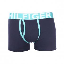 Boxer ouvert Tommy Hilfiger en coton stretch bleu marine à bordures vert d'eau