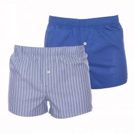 Lot de 2 caleçons Tommy Hilfiger en popeline bleu marine et à fines rayures bleu jean, grises et kaki