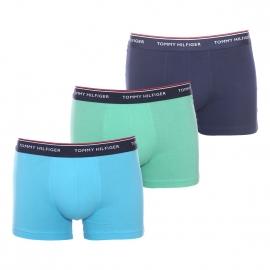 Lot de 3 boxers Tommy Hilfiger en coton stretch bleu marine, vert pâle et bleu ciel