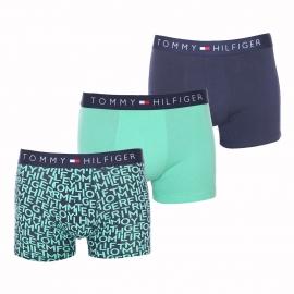 Lot de 3 boxers Tommy Hilfiger en coton stretch bleu marine, vert pâle et bleu marine monogrammé