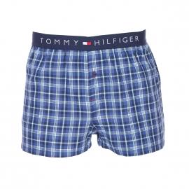 Caleçon Tommy Hilfiger en twill à carreaux bleu marine, noirs, verts et blancs