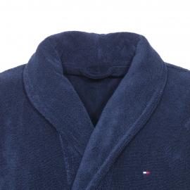 Peignoir de bain Tommy Hilfiger en coton bleu marine, col châle