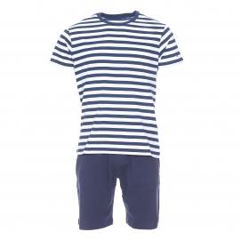 Pyjama court Tommy Hilfiger : Tee-shirt à rayures bleu marine et blanches et bermuda bleu marine