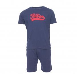 Pyjama court Tommy Hilfiger : Tee-shirt bleu marine floqué en rouge et bermuda bleu marine
