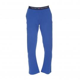Pyjama long Tommy Hilfiger : Tee-shirt gris chiné et pantalon bleu roi