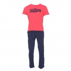 Pyjama long Tommy Hilfiger : Tee-shirt rouge pâle floqué Hilfiger et pantalon bleu marine