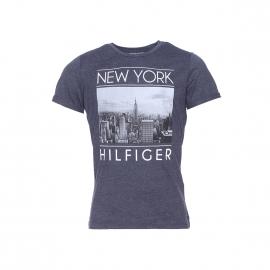 Tee-shirt Tommy Hilfiger bleu marine chiné floqué NEW YORK