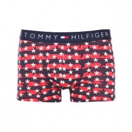 Boxer Tommy Hilfiger à rayures bleu marine et rouge pâle et étoiles blanches