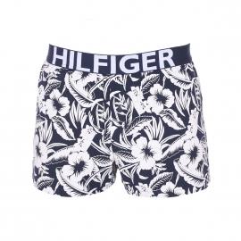 Caleçon Tommy Hilfiger en popeline bleu marine à fleurs exotiques blanches