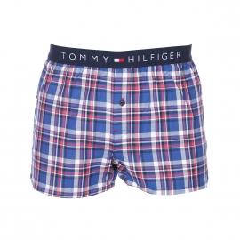 Caleçon Tommy Hilfiger en twill à carreaux bleu foncé, beiges, rouges et noirs