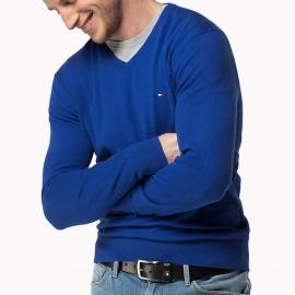 Pull col V Tommy Hilfiger en lin et coton bleu électrique
