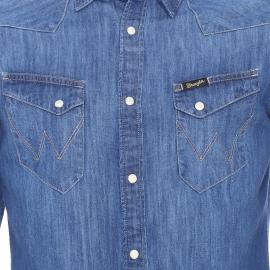 Chemise cintrée en jean City Western Wrangler bleu foncé