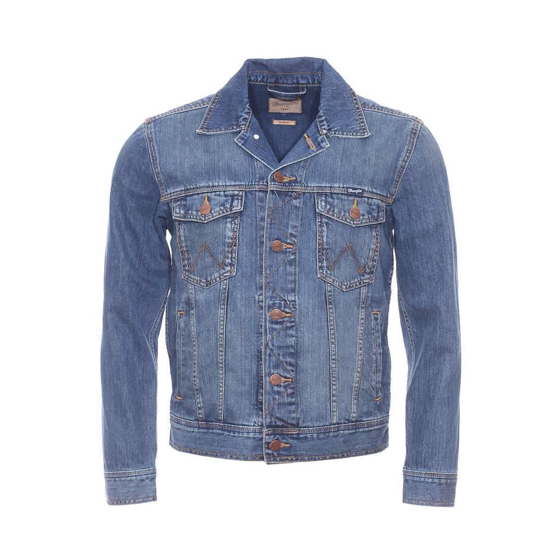 Blouson en jean  en pur coton bleu légèrement délavé