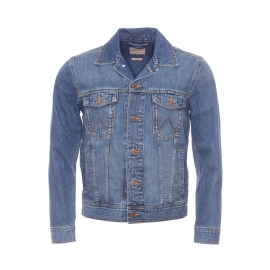 Blouson en jean Wrangler en pur coton bleu légèrement délavé