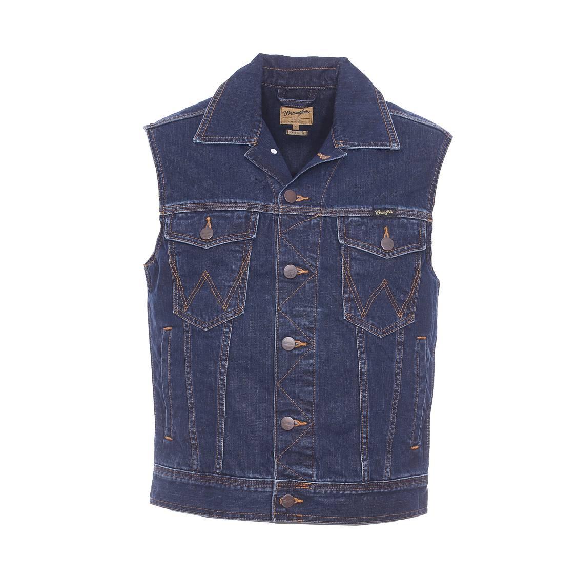 Blouson en jean sans manches  en pur coton bleu foncé