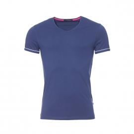 Tee-shirt col V Guess en coton stretch bleu marine