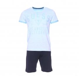 Pyjama court Guess : Tee-shirt en coton bleu clair vintage floqué et bermuda bleu marine