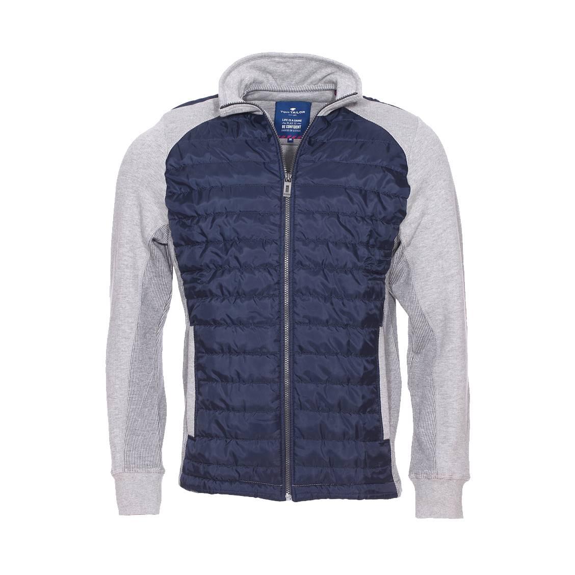 sweat zipp tom tailor en coton gris empi cements matelass s bleu marine rue des hommes. Black Bedroom Furniture Sets. Home Design Ideas