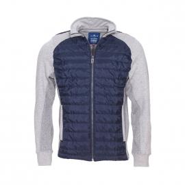 Sweat zippé Tom Tailor en coton gris à empiècements matelassés bleu marine