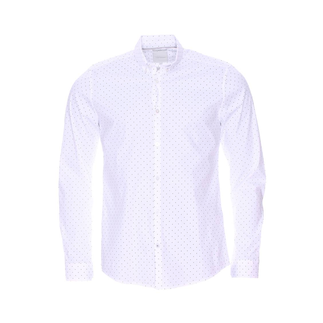 Chemise cintrée  en coton stretch blanc à pois bleu clair et bleu marine