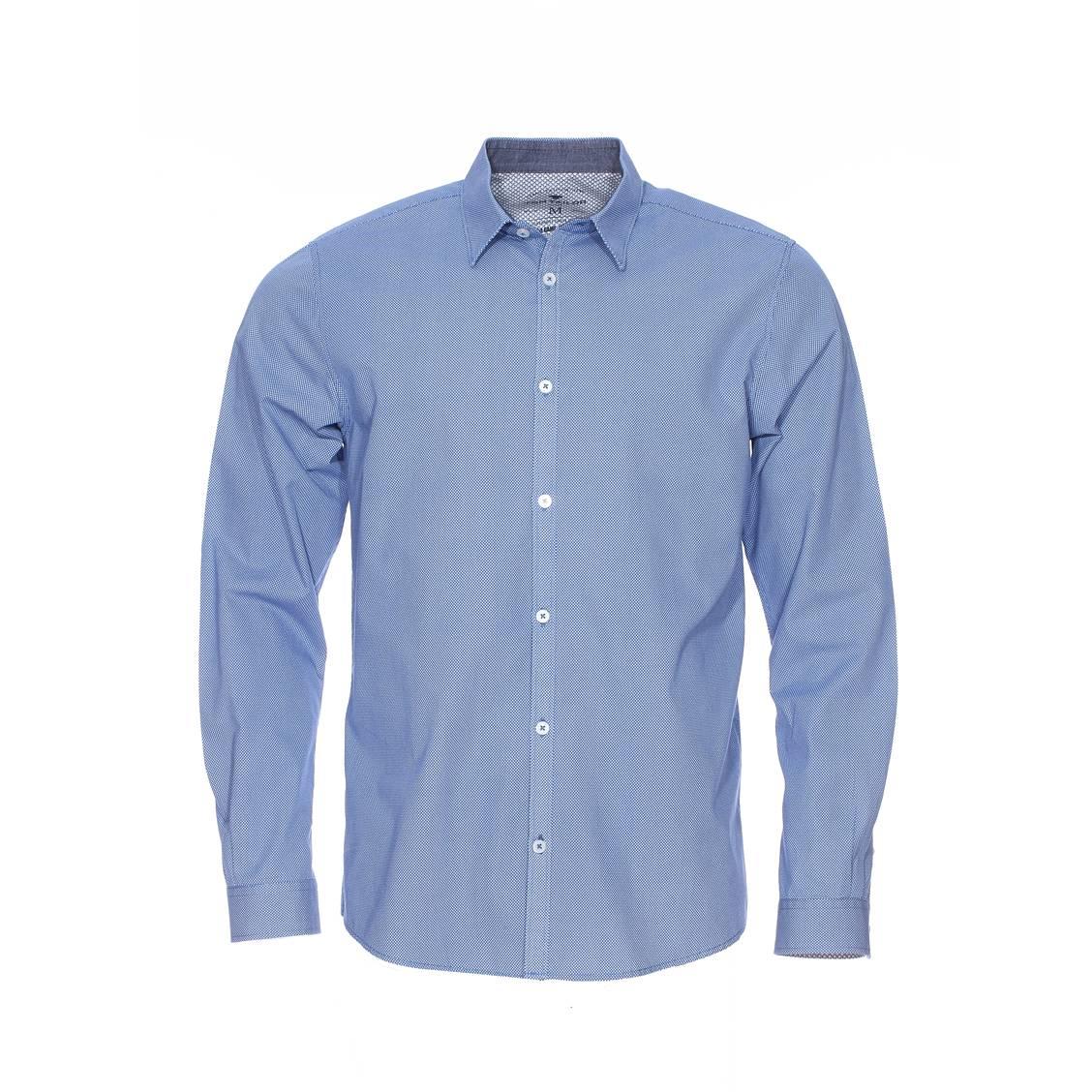 Chemise  en coton bleu clair à pois blancs