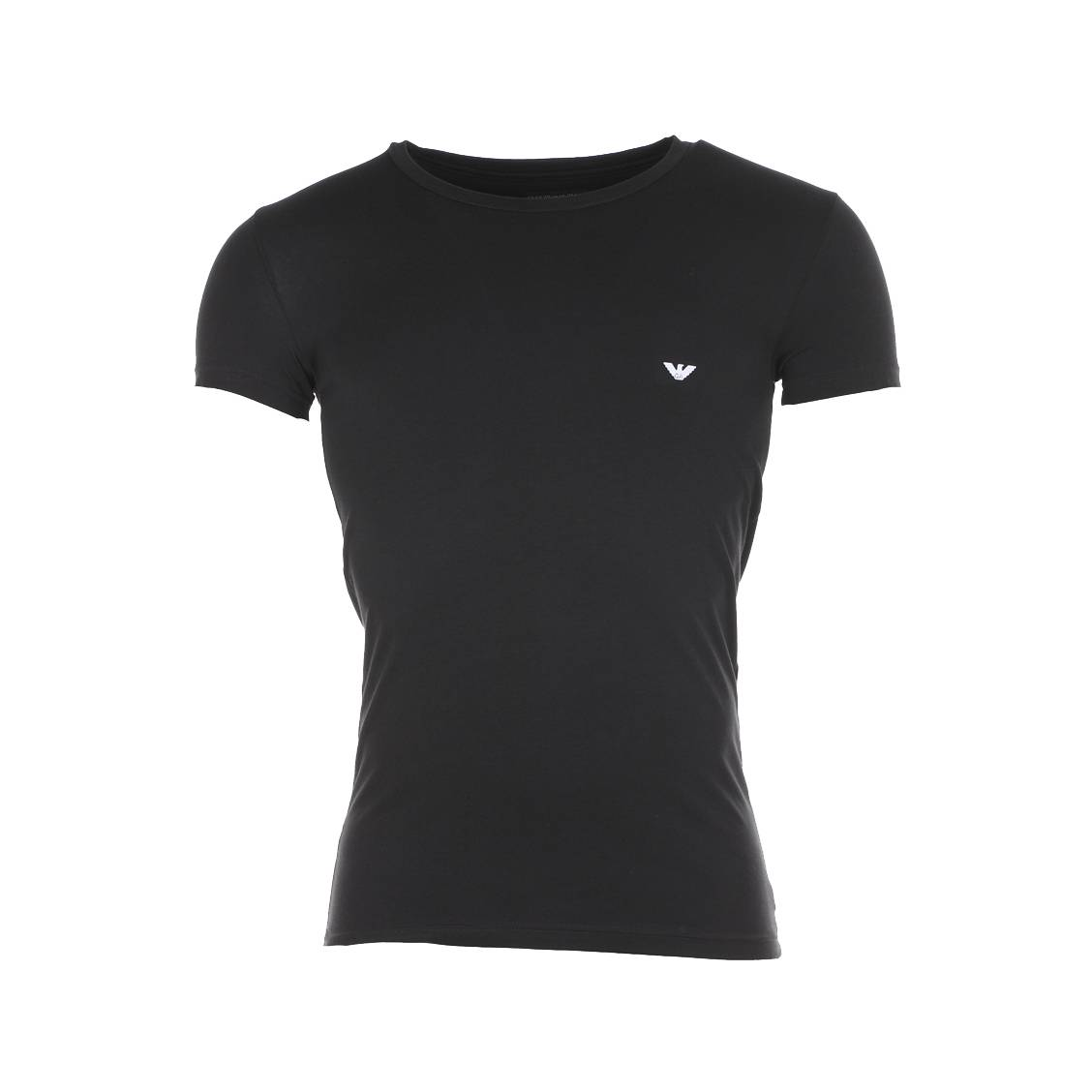 Tee-shirt col rond noir  en coton, logo blanc