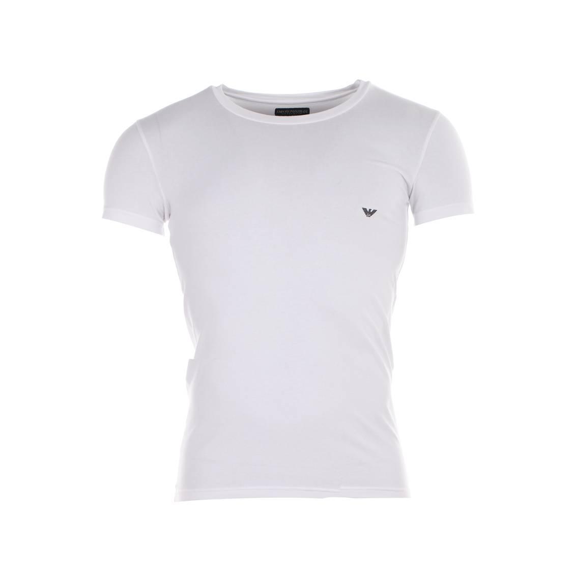 Tee-shirt col rond blanc  en coton, logo noir