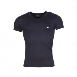Tee-shirt fluide Emporio Armani col v en polyamide bleu marine