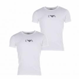Lot de 2 Tee-shirts col rond blancs Emporio Armani coton stretch