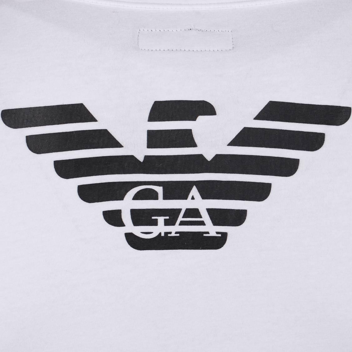 Souvent Tee-shirt col V blanc Aigle Emporio Armani en coton stretch | Rue  GN84