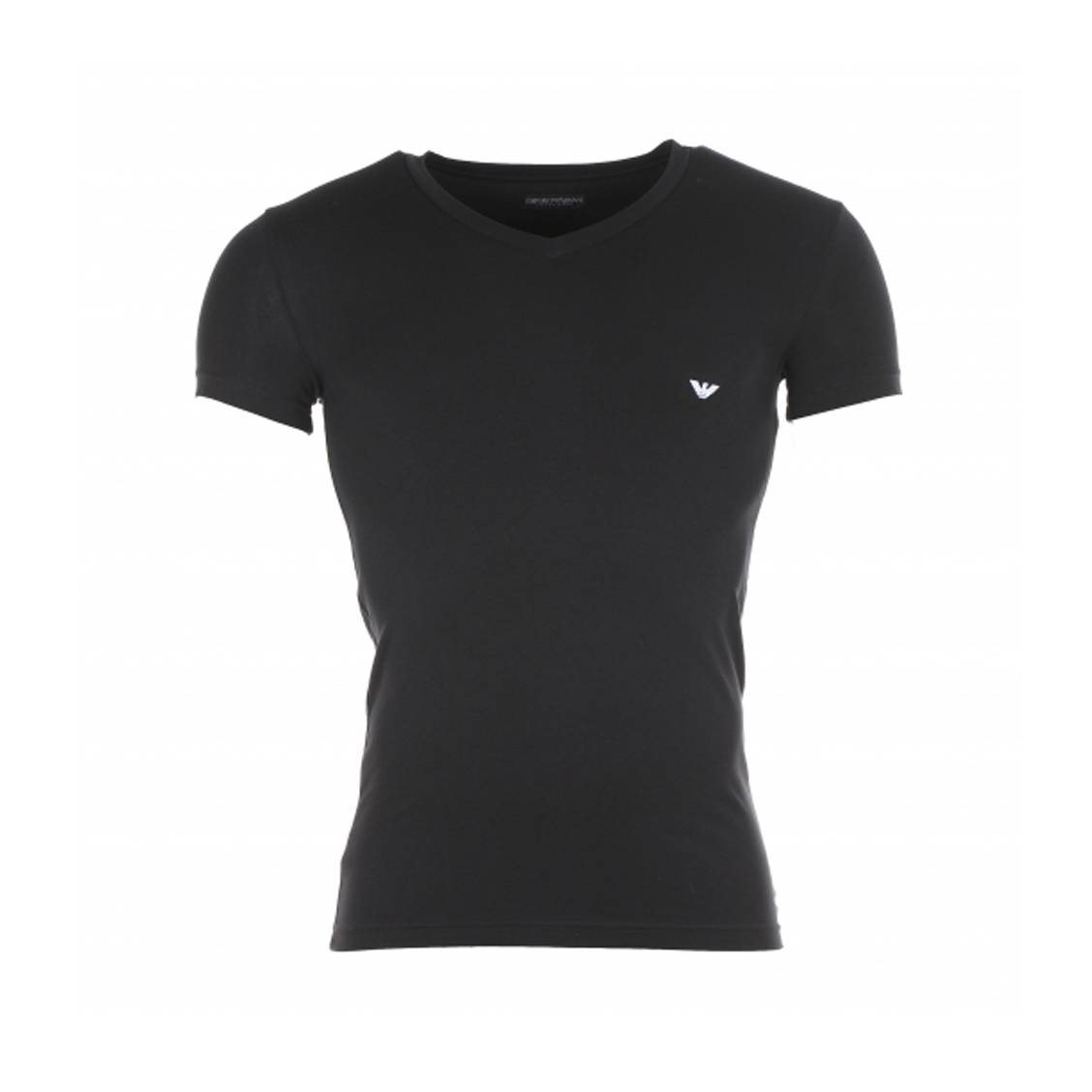 Tee-shirt col v noir  en coton stretch