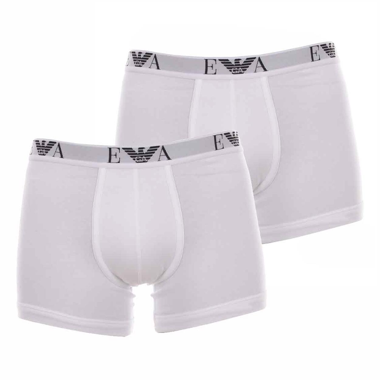 Lot de 2 boxers longs  en coton stretch blanc brodés sur la ceinture