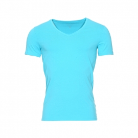 Tee-shirt col V Guess en coton stretch bleu turquoise